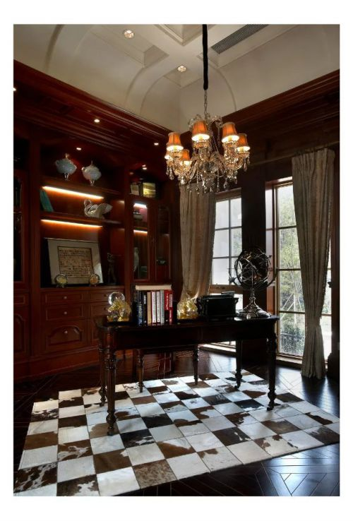 美式风格书房书桌吊灯装修设计
