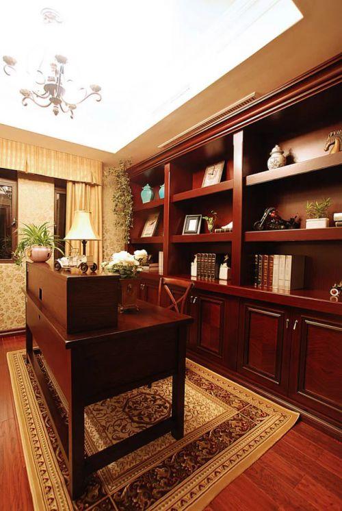 美式风格书房书柜吊顶装修设计