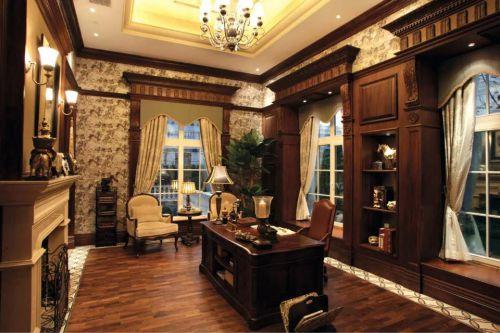 美式风格吊顶书房窗帘装修案例