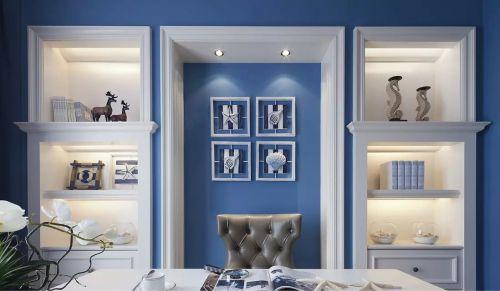 现代美式风格书房背景墙图片