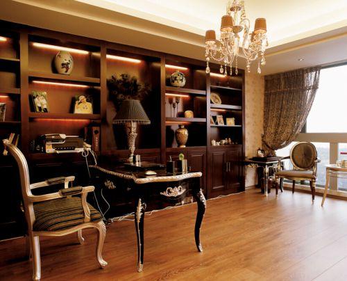 115平欧美风情奢华书房书柜设计