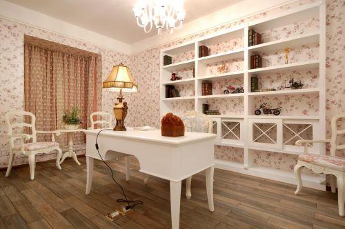 92平欧式田园风格书房书柜效果图展示