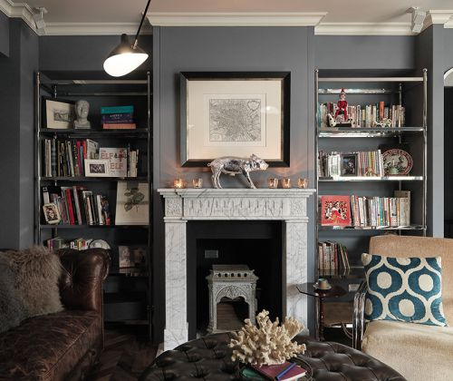 72平米美式风格书房壁炉设计
