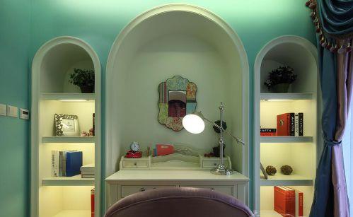 90平地中海装修书房背景墙效果图