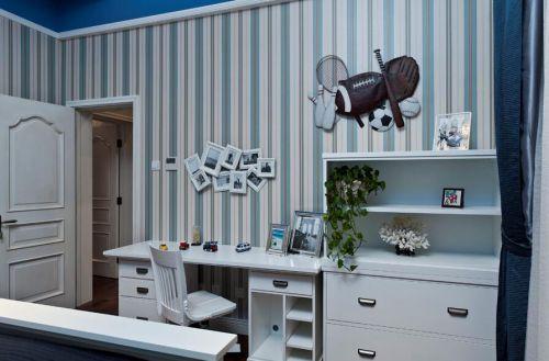 85平地中海风格书房照片墙设计
