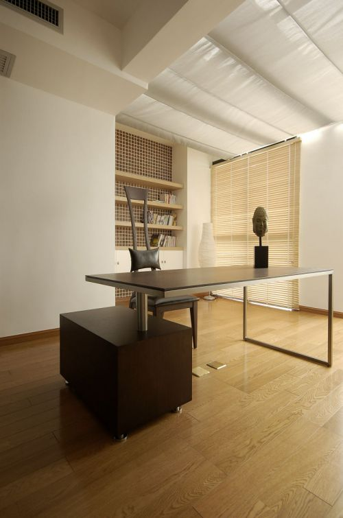 舒适美式风格三居室书房书桌效果图