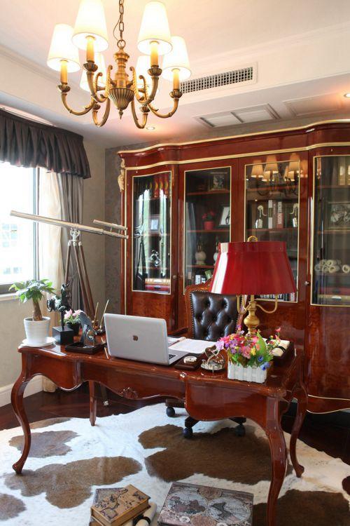 美式古典风格三居室书房书柜效果图