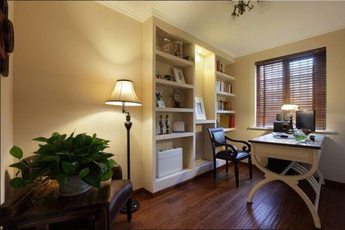 清爽美式风格书房工作区图片