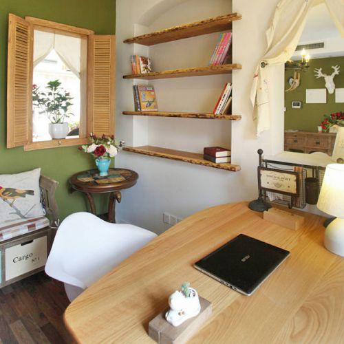 小清新地中海风格四居室书房背景墙设计