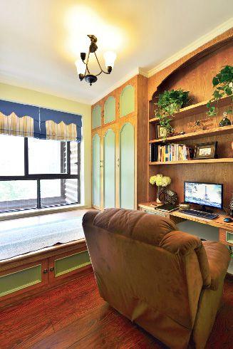 美式乡村书房飘窗图片
