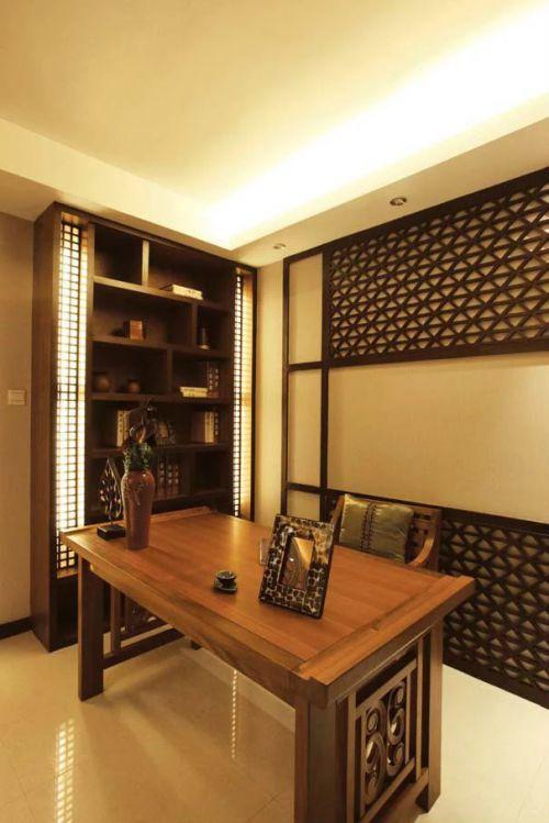 东南亚风格吊顶书房书柜设计