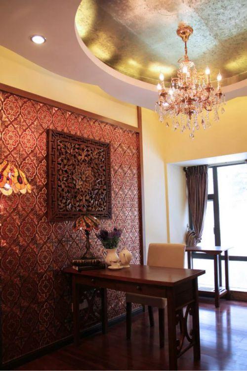 东南亚风格书房背景墙设计图片