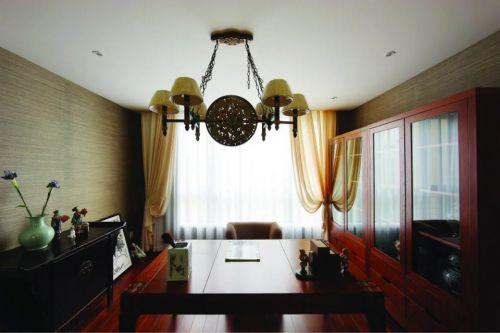 东南亚风格书房吊顶窗帘效果图