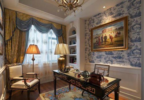 书房窗帘桌椅图片设计全景