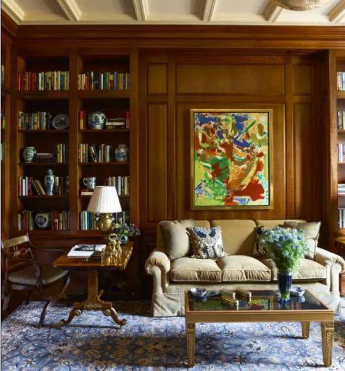 法式书房沙发家装书柜效果图