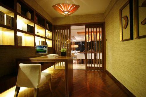东南亚风格书房工作区效果图