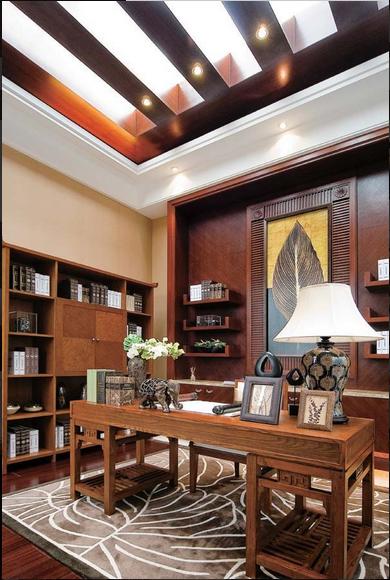 东南亚原木风书房吊顶图片