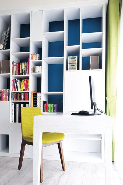 119平米北欧风情三室两厅书房书柜效果图