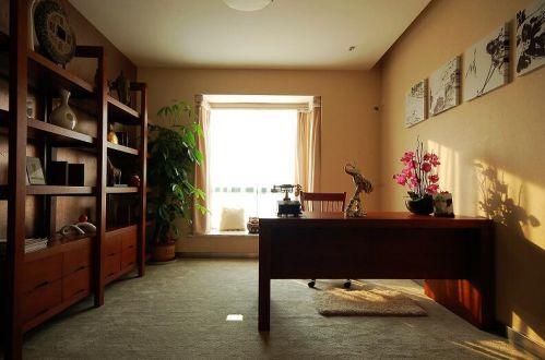 88平新中式风格书房博古架图片