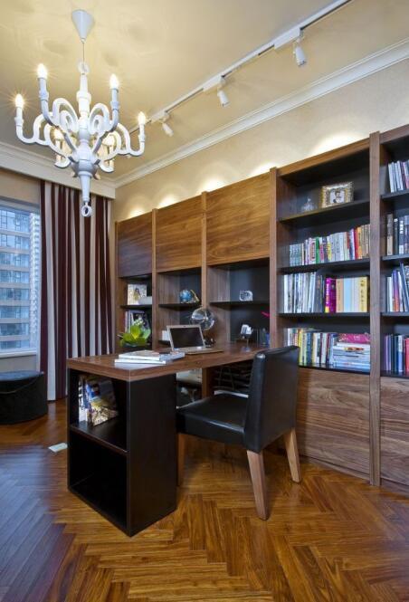 美式新古典风格书房书架效果图