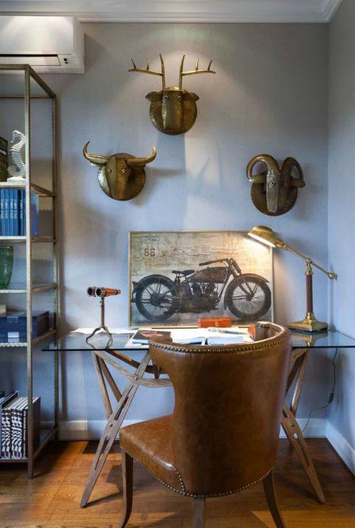 混搭风格书房背景墙装饰效果图