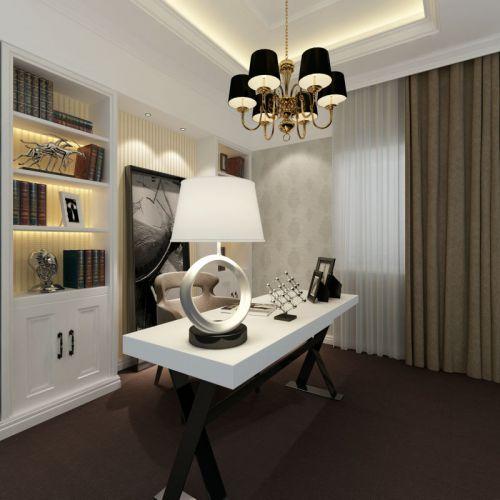 107平米新古典风格书房书柜设计