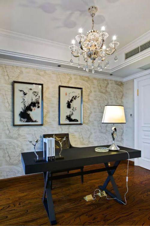 书房书桌照片墙风格装修图片