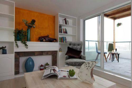 家装简约书房落地窗阳台设计图片