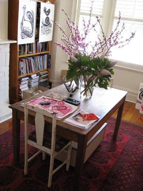 78平米混搭风格两居室书房书桌图片