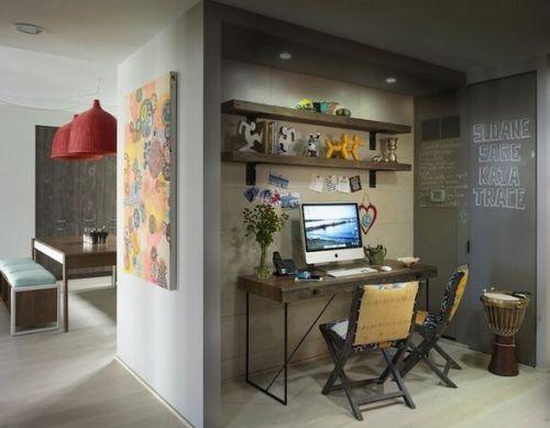 清爽混搭书房工作区设计