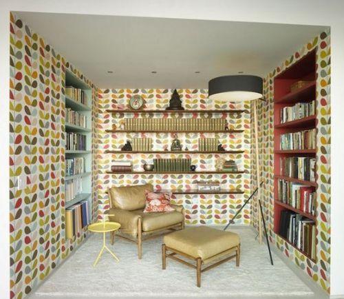 混搭风格书房背景墙效果图