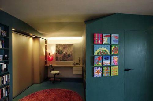 65平小户型混搭书房隐形门设计