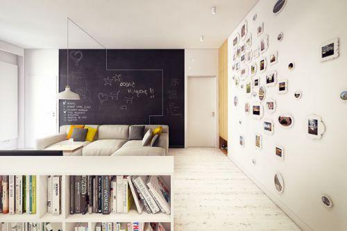 40平米小户型混搭风格书房背景墙装修