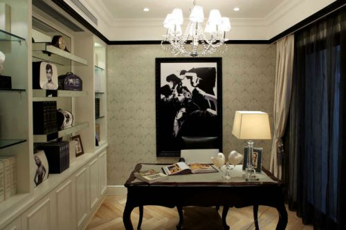 简约欧式风格书房背景墙装修设计