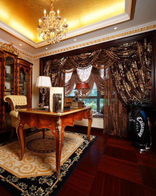 134平豪华欧式别墅书房装饰图片