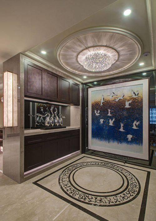 欧式别墅玄关吊灯装修图片