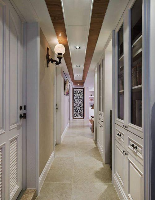 美式四居走廊书柜室内装修图片