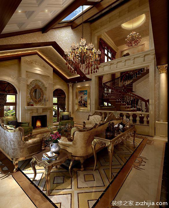 欧式奢华风格别墅客厅装修效果图