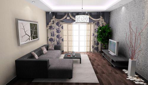 二居室现代简约风客厅白色吊灯效果图