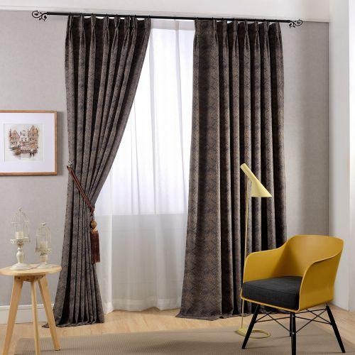 咖啡色现代成熟格子客厅窗帘效果图