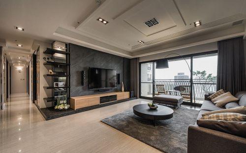 现代风格大气稳重客厅石材背景墙装修图