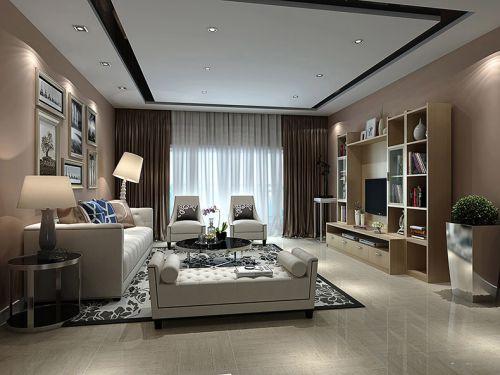 黄色现代简约客厅组合柜装修效果图