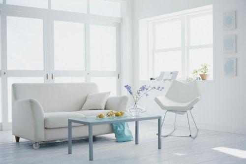 现代风格小户型客厅白色沙发设计效果图