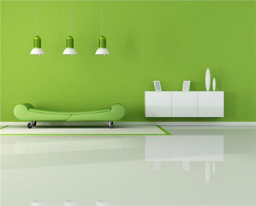 绿色现代简约客厅装修效果图