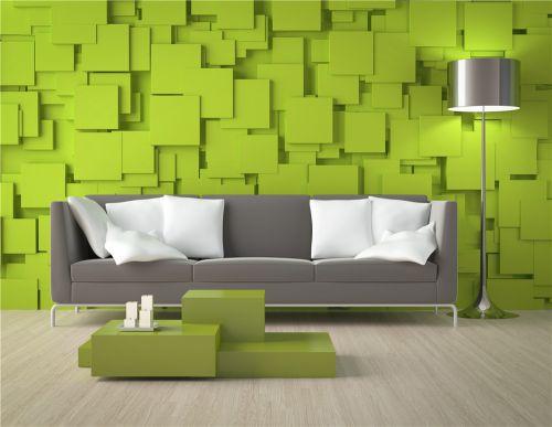 绿色拼图现代客厅装修效果图