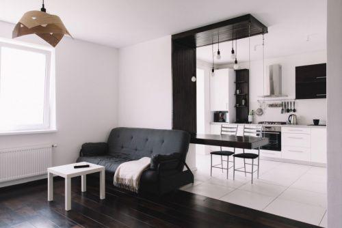现代简约黑白经典配搭客厅装修效果图