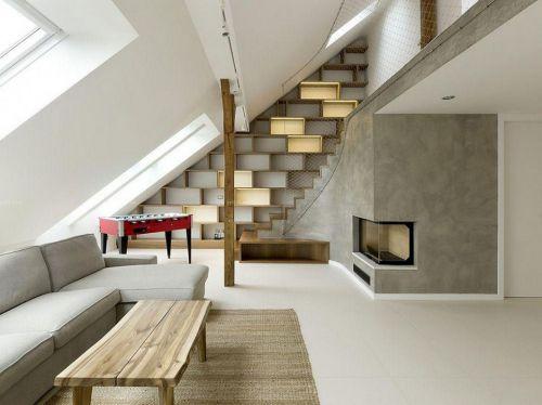 现代简约风格客厅loft公寓装修效果图