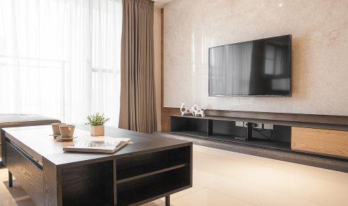 极简现代风格客厅背景墙装修实景图