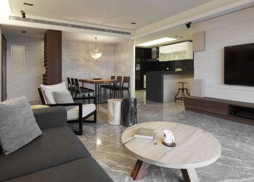 简洁黑白灰现代风格客厅装修图片
