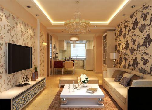 现代简约风格二居室客厅花纹壁纸装修效果图